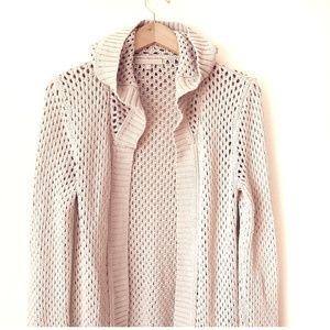 Joan Vass Sweaters - Joan Vass Tan Crochet Hooded Open Cardigan Sweater